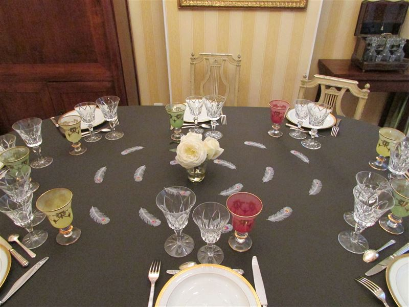 Table plumes et roses bis moyenne