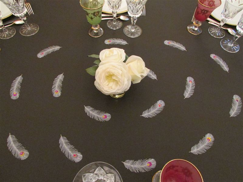 Table plumes et roses moyenne